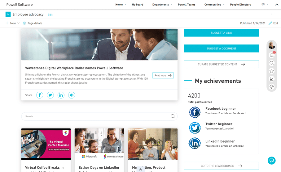 Employee Advocacy Homepage Powell software